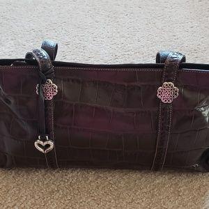 Brighton Croc-Embossed Leather Satchel Handbag